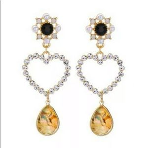 Betsey Johnson Rhinestone Pearl Heart Drop earring